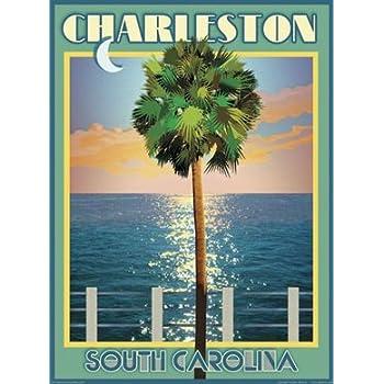 This item Charleston Palmetto Tree-Art Deco Style Vintage Travel Poster-by Aurelio Grisanty