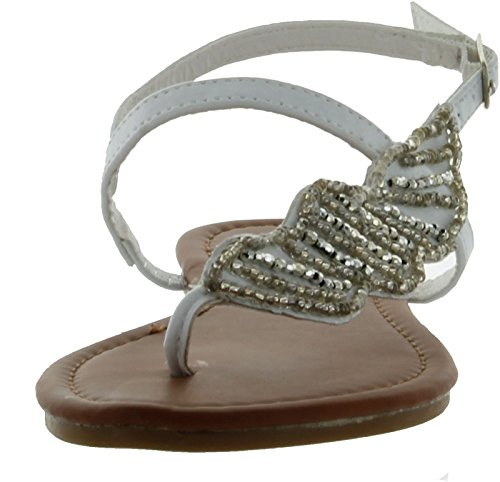 Bamboo Women Amused-03 Sandals White Pu Ml5fu
