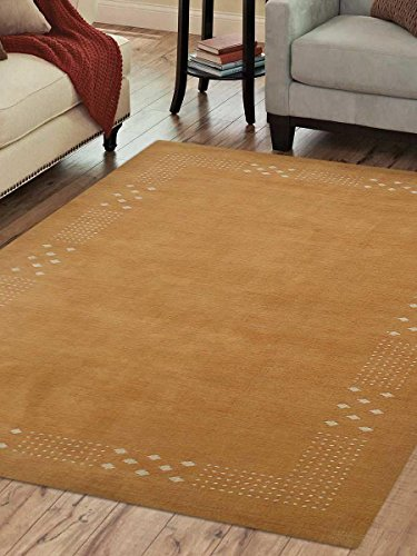 Rugsotic Carpets Hand Knotted Gabbeh Wool 9'x12' Area Rug Contemporary Gold L00530 from Rugsotic Carpets