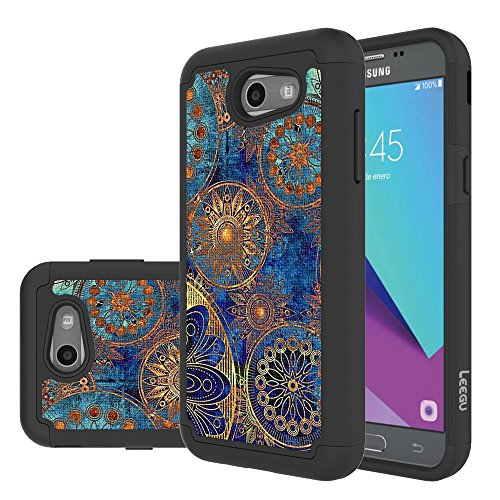 for Samsung Galaxy J3 Emerge Case, J3 Prime / J3 2017 / J3 Mission / J3 Luna Pro / J3 Eclipse/Express Prime 2 / Amp Prime 2 / Sol 2 Case, LEEGU Dual Layer Heavy Duty Protective Case - Gear Wheel