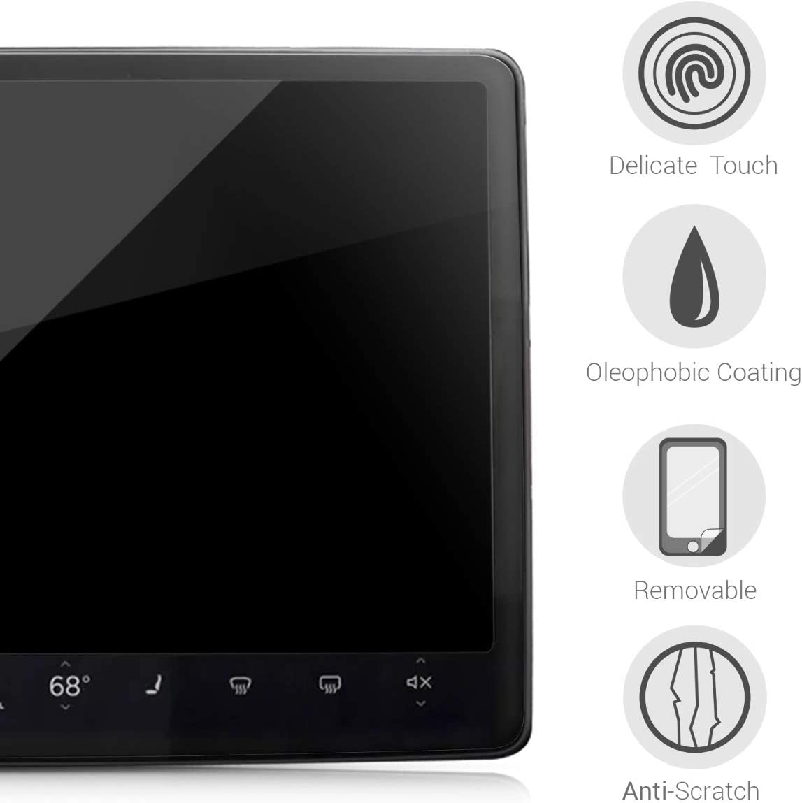 kwmobile Screen Protector Compatible with Tesla Model 3 Clear PET Film for Car in-Dash Navigation Center Screen