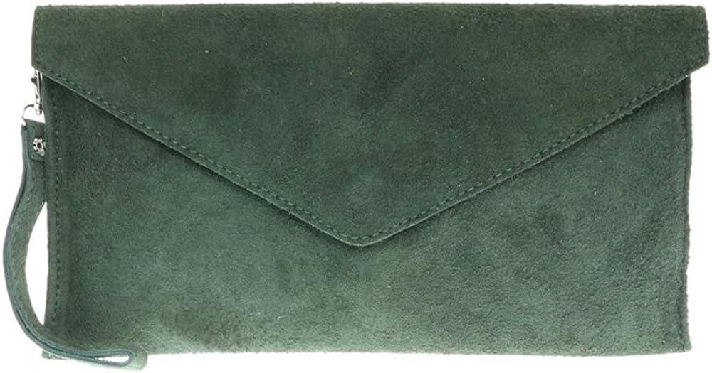 Umschlag-Form gro/ß Clutch f/ür Party Abschlussball Echtes italienisches Verapelle-Wildleder Handtasche
