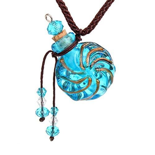 CCSC-PEC Round Gold Dust oil ashes urn bottle cork Blue Glass pendant vial Necklace ()