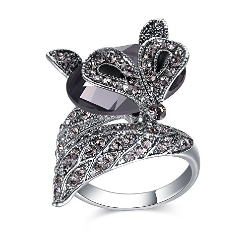 Mytys Fox Design Cocktail Statement Ring Sets Crystal and Marksite Paved Silver (Marcasite Set Ring)