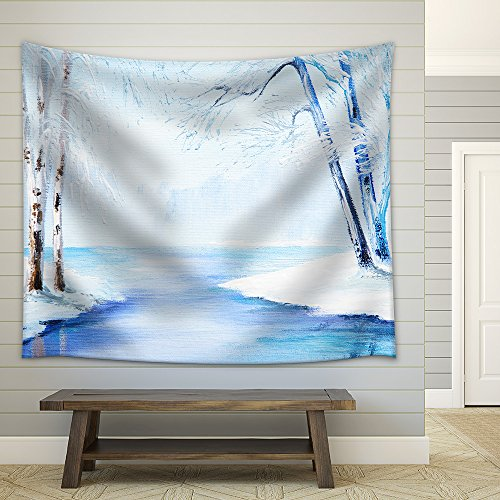 Oil Painting Winter Landscape Colorful Watercolor Fabric Wall