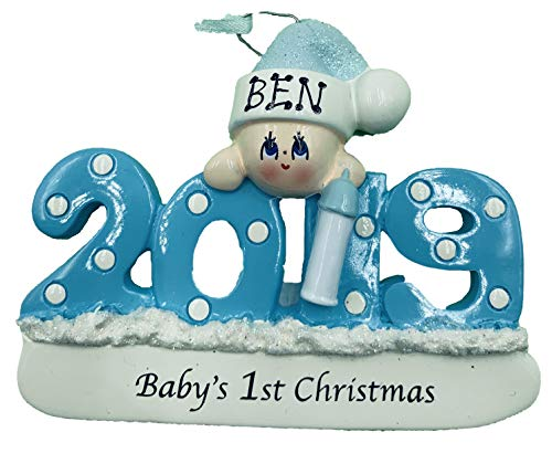 Personalized Baby's First Christmas Ornament 2019 Blue/boy Free Personalization ...