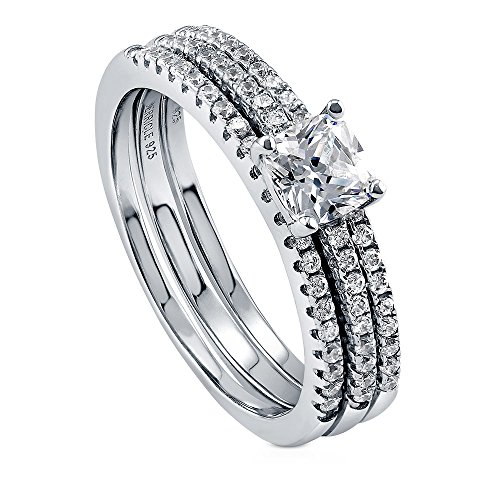 BERRICLE Rhodium Plated Sterling Silver Cushion Cut Cubic Zirconia CZ Solitaire Engagement Wedding Ring Set 0.9 CTW Size 8