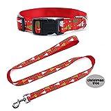 Ytuomzi Christmas Dog Leash Collar Set Lead Adjustable Pet Collar Strong Nylon Dog Handle Leash Durable Safe Pets Rope/Strap Walking Training Running (Small, Red - Christmas Tree)