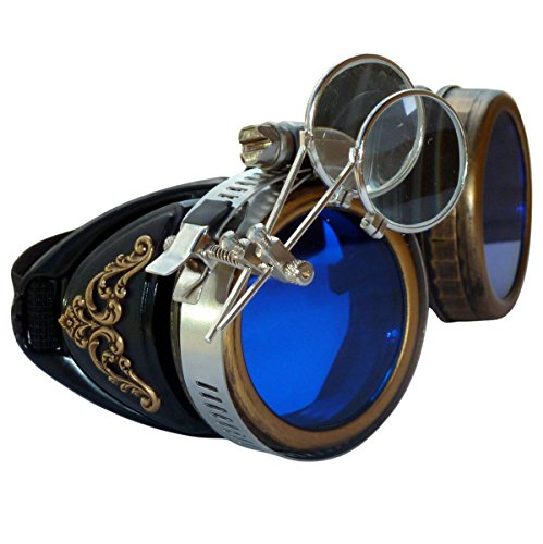 [Steampunk GogGLes VicTORian Novelty Glasses cosplay Antique filigree S2 (Blue 1x) by] (Halloween Goggles)