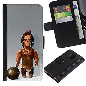 Músculos Caveman Club de Nieve- la tarjeta de Crédito Slots PU Funda de cuero Monedero caso cubierta de piel Para Samsung Galaxy S5 V SM-G900