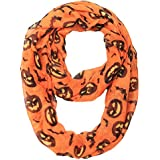 MissShorthair Halloween Infinity Scarf Lightweight Loop Holiday Gift Idea (pumpkin)