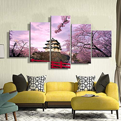 KKXXFBH Home Decoration Pictures Vintage 5 Panel Cherry Blossom Framework Paintings On Canvas Posters and Prints On The Wall