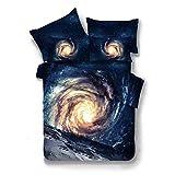 SHADEHAO Home Textile 3D Blue Universe Bedding Sets Kid Teenage Adult Linens Planet Duvet Cover Pillowcase Flat Bed Sheets Queen 13 Queen 3Pcs No Sheets Flat Bed Sheet