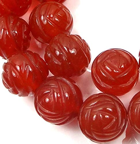 10mm AAA Carnelian Agate Carved Rose Flower Beads (10)