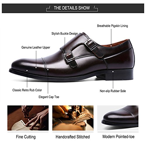 Leather Double Oxford Dress Grain Toe Men Cap Brown for TENGTA Mens Full Strap Monk Shoes Loafers vqw4FRT
