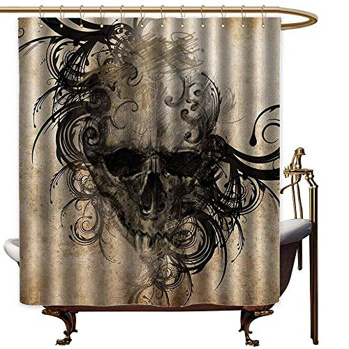 Godves Large Shower Curtain,Tattoo Decor Revenge Fierce Faced Skull Triplets with Romantic Detail of Rose Image,Waterproof Colorful Funny,W36x72L,Black and White]()