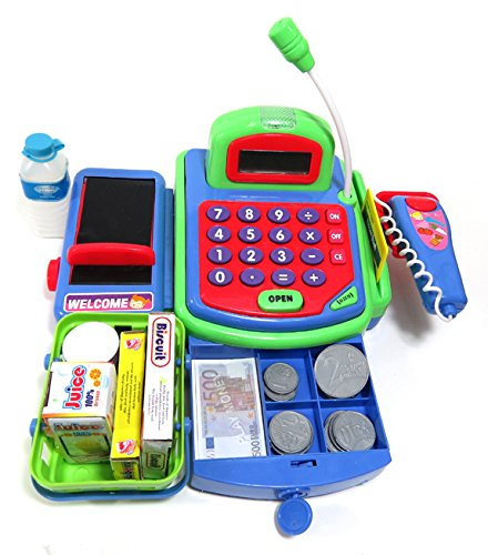 PowerTRC Pretend Play Electronic Cash Register Toy Realistic Actions & Sounds