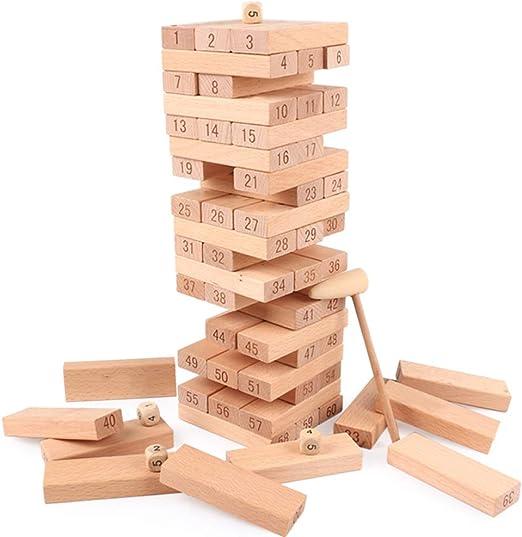 YUHEN Torre de Madera Gigante, Juego de Bloques de construcción de apilamiento, Juegos De Interacción Entre Padres E Hijos Y Adultos: Amazon.es: Deportes y aire libre