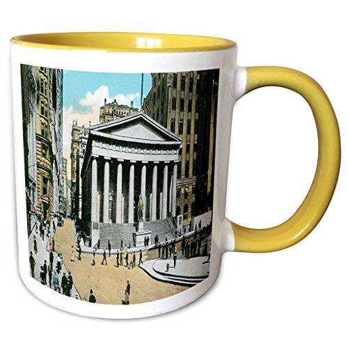 (3dRose BLN Scenes of New York City Collection - US Sub Treasury Building New York City - 15oz Two-Tone Yellow Mug (mug_170148_13))
