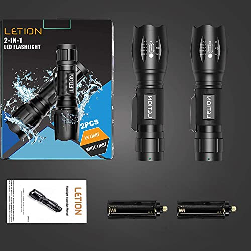 LETION Flashlights with Black light, 2 Pack, Combines UV Light & LED Flashlight, 500LM Highlight. 4 Mode, Weather-resistant. Black light For Pet Urine Detection, Bright Flashlight For Fishing, Outdoor Camping etc.