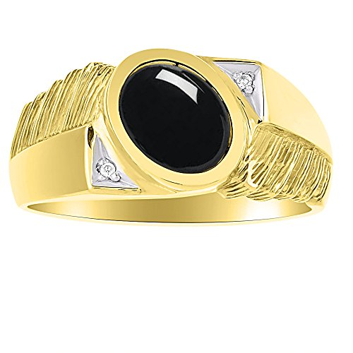 Mens Black Onyx & Diamond Ring Sterling Silver or Yellow Gold Plated Silver