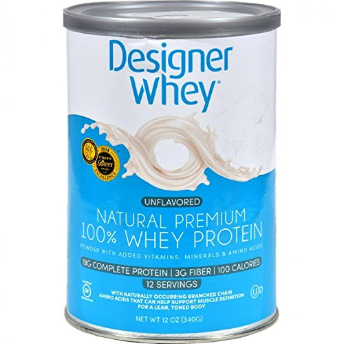 Designer Whey Premium Natural 100% Whey Protein, Purely Unflavored, 12 Ounce by Designer Protein
