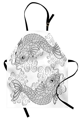 Ambesonne Asian Apron, Traditional Koi Fish Pattern with Ethnic Ornaments Eastern Culture Image Print, Unisex Kitchen Bib Apron with Adjustable Neck for Cooking Baking Gardening, Grey and -