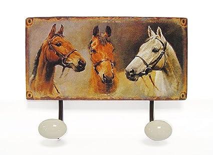 Perchero diseño-óptica caballos - diseño de 2 ganchos 23 x ...