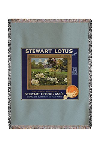 (Lantern Press Stewart Lotus Brand - Upland, California - Citrus Crate Label 57724 (60x80 Woven Chenille Yarn Blanket))