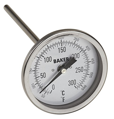Baker Instruments T300 Series Stainless Steel Bi Metal Thermometer 50 to 550 F 0 to 260 C , 4 Stem, 1 2 NPT Straight Connection, 3 Dial