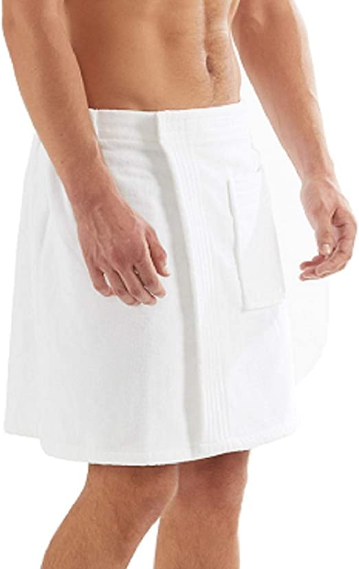 Amazon Com C B Men S Towel Wrap 100 Organic Turkish Cotton For Spa Shower And Gym W Pocket White Kitchen Dining