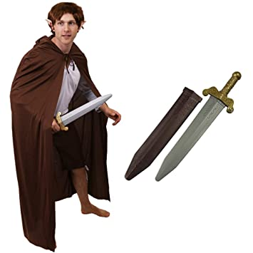 ADULTS MYTHICAL MAN DWARF COSTUME SET WITH BROWN CAPE AND SWORD PERFECT FOR  SCHOOL BOOK WEEK AND WORLD BOOK DAY | ONE SIZE FITS MOST