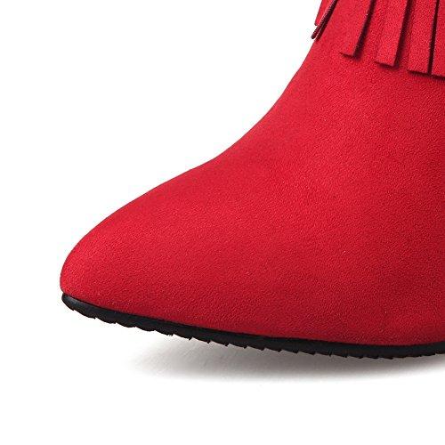 Stiletto Winkle Shi BalaMasa Tassels Ladies Red Boots Pinker Xi Velvet q17wgIEw