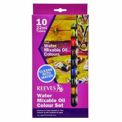 Reeves 10-Pack Water Mixable Oil Color Tube Set, 22ml