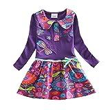 VIKITA 2017 New Kid Girl Embroidery Cotton Dress Long Sleeve L360PURPLE 4-5 Years
