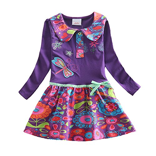 VIKITA 2017 New Kid Girl Embroidery Cotton Dress Long Sleeve L360PURPLE 3-4 Years