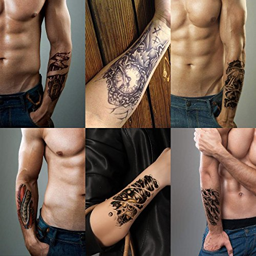 Leoars 6 Sheets 3d Robot Arm Temporary Tattoo Stickers Waterproof Body Arm Tattoo Sticker for Men Women Make up Fake Tattoo Removable