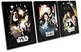 Bold Bloc Design - Star Wars Vintage Movie Greats 120x60cm TREBLE Canvas Art Print Box Framed Picture Wall Hanging - Hand Made In The UK - Framed And Ready To Hang