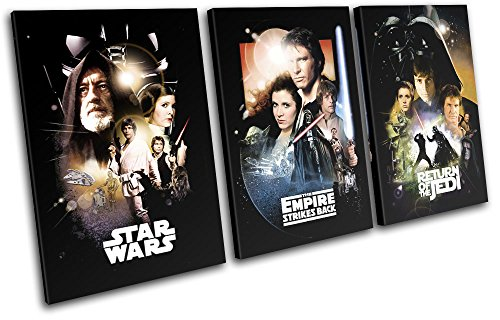 Bold Bloc Design - Star Wars Vintage Movie Greats 90x45cm TREBLE Canvas Art Print Box Framed Picture Wall Hanging - Hand Made In The UK - Framed And Ready To Hang by Bold Bloc Design