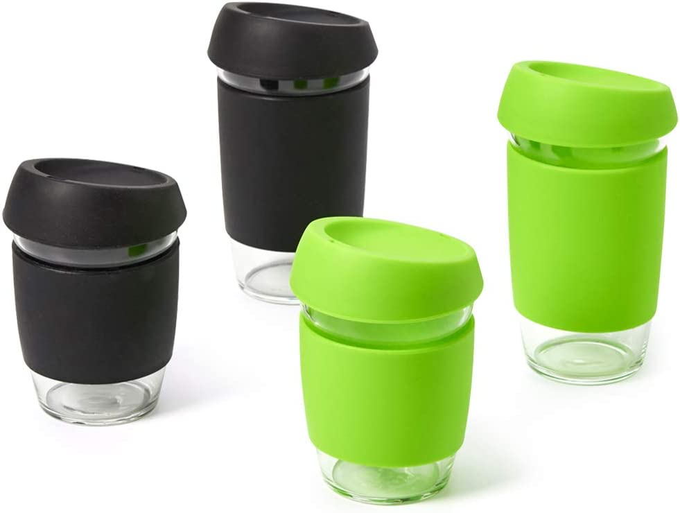 EZOWare Set of 4 Travel Mug Tumbler with Sleeve and Lid, Glass Coffee Tea Beverages Cup to Go - Mixed 16/12 oz