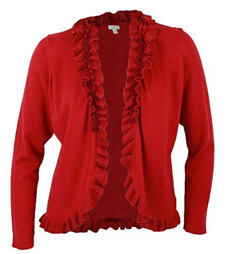 Charter Club Women's Plus Ruffle Trim Cardigan Sweater 0x Dark Red Zone