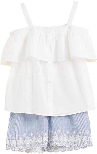 Conjunto niña Blusa Blanca y Short Azul: Amazon.es: Ropa y accesorios