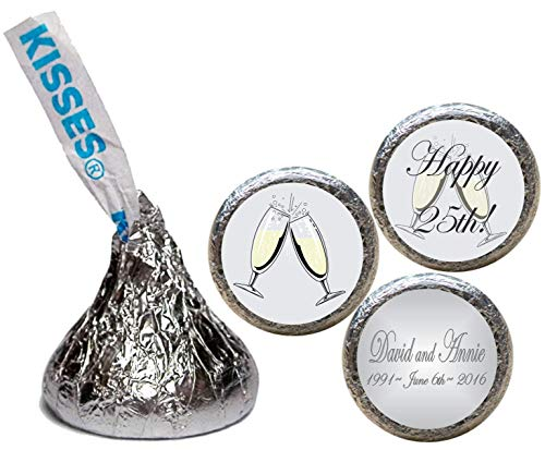 25th Anniversary Stickers for the Bottom of Chocolate Kisses (Set of ()