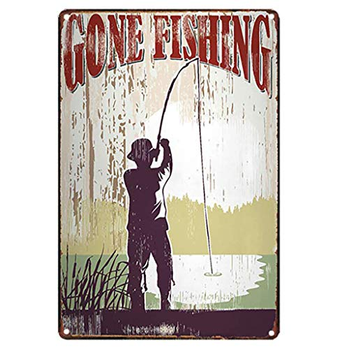 AYZ - Gone Fishing Vintage Metal Tin Sign Poster Living Room Wall Sticker Art Painting Pub Bar Decor Home Decorations TPLJ3940