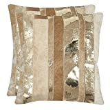 Safavieh Pillow Collection Throw Pillows, 22 by 22-Inch, Peyton Gold, Set of 2