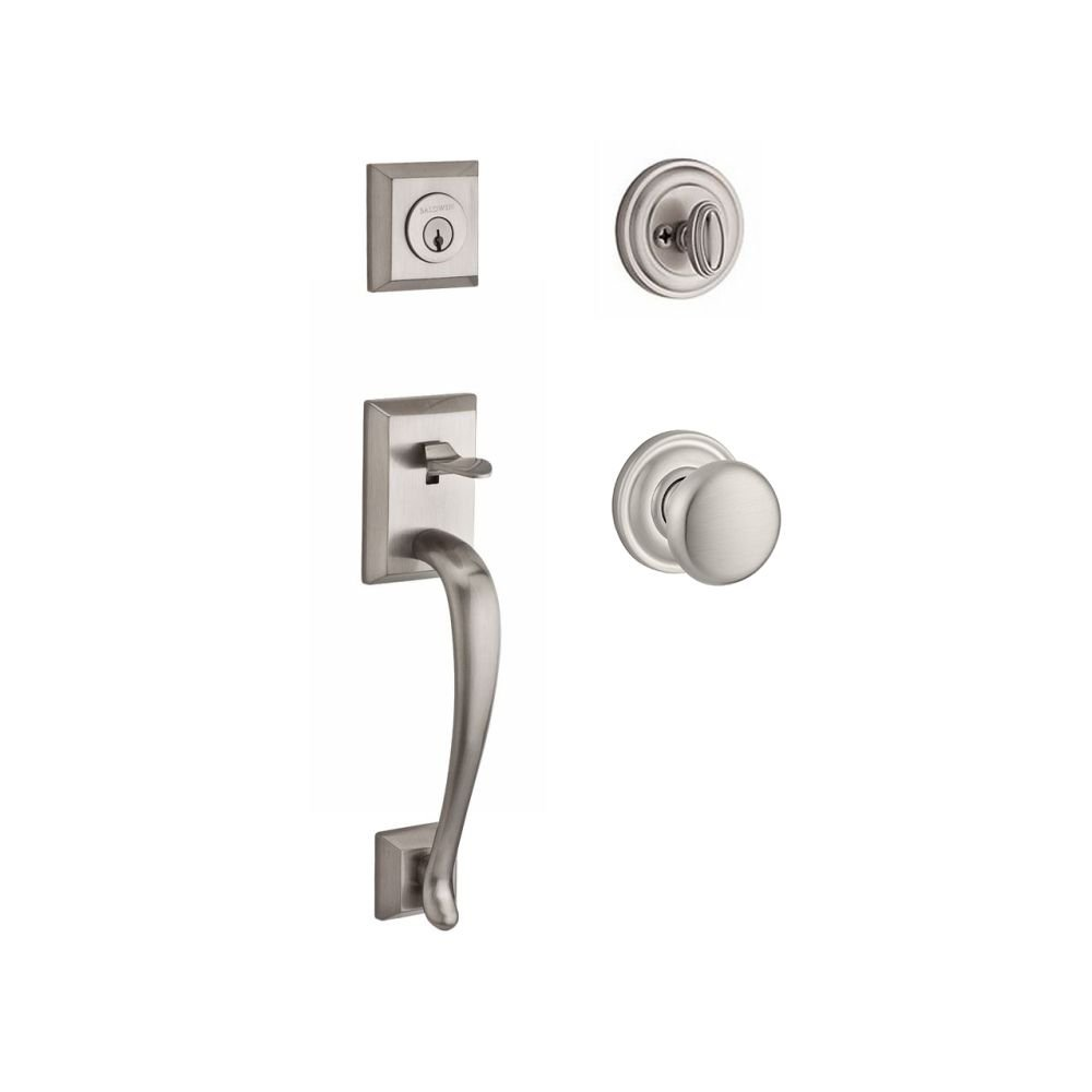 Baldwin SC.NAPxROU.TRR.150.6L.DS.CKY.KD Napa Single Cylinder Handleset with Round Knob and Traditional Round Rose, Satin Nickel