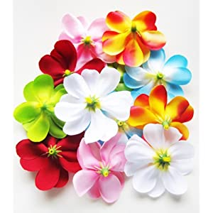 "(100) Assorted Hawaiian Plumeria Frangipani Silk Flower Heads - 3"" - Artificial Flowers Head Fabric Floral Supplies Wholesale Lot for Wedding Flowers Accessories Make Bridal Hair Clips Headbands Dress 14"