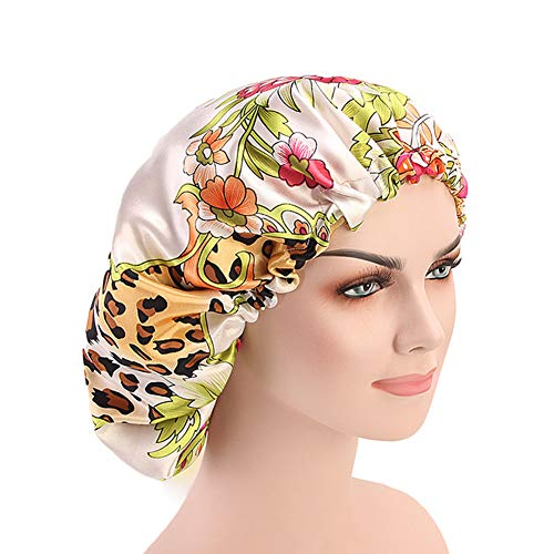 DuoZan Extra Large Double Layered Satin Sleep Bonnet Cap Adjustable Elastic Reversible Turban Thicker Lined Hat Multi Color (Cream)