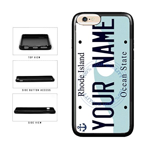 BleuReign(TM) Personalized Custom Name Rhode Island State License Plate TPU RUBBER SILICONE Phone Case Back Cover For Apple iPhone 8 and iPhone - Name Island