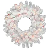 "Vickerman 36"" Crystal White Wreath with 100 Multicolored LED Lights"